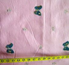 Embroidered Butterflies On Pink Corduroy Fabric By The 1/2 Yard