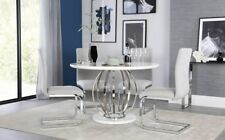 Savoy Round White High Gloss & Chrome Dining Table with 4 Perth Dove Grey Chairs
