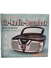Sylvania Srcd211-Black Portable Cd Boombox with Am/Fm Radio, Retro Style, Black