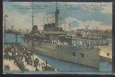 Postcard SAINT NAZAIRE  FRENCH BATTLESHIP DIDEROT LAUNCHING APRIL 1909