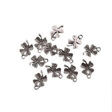30pcs Lucky Four Leaf  Beads Good Luck Tibetan Silver Charms Pendant DIY 15*10mm