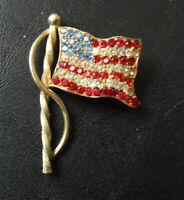 Fancy Gold Tone Metal Faux Stones American Flag Pin Pinback