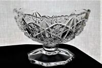 "Vintage McKee Early American Pres Cut glass 4.75""x 3.5""x 3"" oval pedestal Bowl"