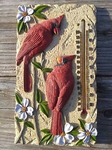 Cardinals Wall Thermometer Red Birds Dogwood Blooms Stone Patio Porch Encore