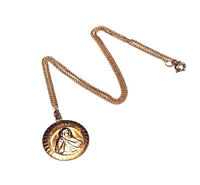 VINTAGE JEWELRY 1960s Mary Immaculate Catholic Gold PL Round Pendant Necklace