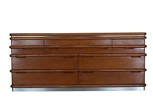 Jay Spectre Seven Drawers Credenza, Oak Credenza, Mid Century Sideboards