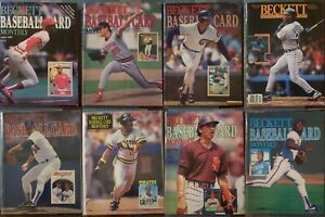 Lot of 8: Beckett Baseball Monthly Price Guides: June 1987 to October 1996