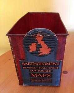 Rare antique storage display tin for Bartholomew Maps