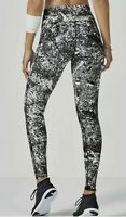 Fabletics Lisette High Waisted M Leggings Black White Rose Gold Metallic Marble