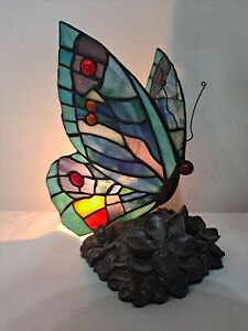 Tiffany Style Stained Glass Butterfly Accent Lamp Night Light Desk Lamp