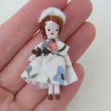 Dollhouse ARTISAN GIRL DOLL Vtg Artist Tiny Handmade 40s Style Woman Lady in Hat
