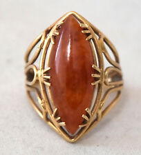 Chinese 14K Solid Yellow Gold and Untreated Jadeite/Jade Ring Size 5 3/4