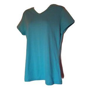 Danskin Now Activewear T-Shirt Women XL Blue Cotton Blend V-Neck Short Sleeve