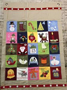 "Pottery Barn Kids HOLIDAY Advent Calendar FABRIC Wall Hanging 30x44"""