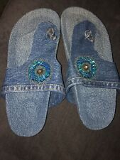STYLE & CO BLUE DENIM THONG SLIDE SANDAL SZ.9M