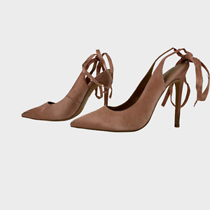 ASOS Ladies Womens Shoes Size UK 6 EU 39 Pink Slingback Tie Strap Heels