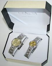 GENEVA POLISHED SILVER TONE S/STEEL BAND+GOLD DIAL 2,TWO PIECE HIS+HER WATCH SET