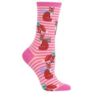 Winter Fox Stripes Hot Sox Women's Crew Socks Pink New Novelty Forest Fashion