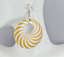 "Yellow White Grey disc earrings painted swirl medallion dangle wood hoop 2.5"""
