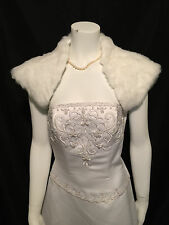 WHITE Faux Fur Bolero Shrug Wrap Shawl Wedding XS-XXL