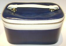 VINTAGE NAVY BLUE LEATHER? TRAVEL BAG COSMETIC CARRY ON MIRROR VERY NICE RETRO