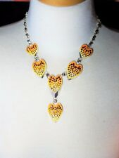 Fabulous Heart Necklace Vintage Enamel Rhinestones Earrings