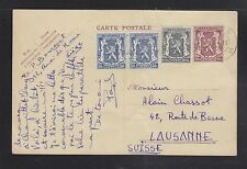 BELGIUM 1940s FOUR POSTAL STATIONERY CARDS SPA & LIEGE TO LAUSANNE SWITZERLAND