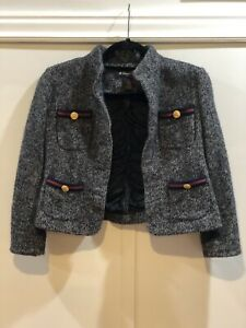 Brooks Brothers Womens Gray Wool Angora Blazer with Gold Button Pockets Size 4P
