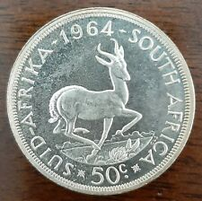 1964 South Africa 50 Cents Coin,Silver, uncirculated coin, Low Mintage!