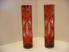 Antique Pair of Bohemian Moser Style Cranberry Enamel Decorated Bud Vases 7 1/2""