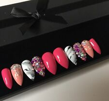 Hand Painted False Nails Pink Rose Marble Diamante Stiletto Press On Nails