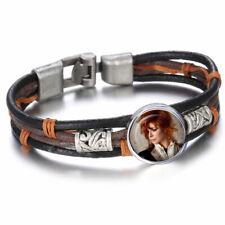 bracelet cuir brun, noir, mylène farmer, bouton pression 18mm (a)