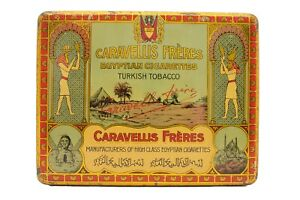 """Scarce 1900s Dutch """"Caravellis Freres"""" hinged cigarette tin in excellent cond"""