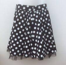 e-vie COLLECTION Black&White Polka Dots Knee Length Net Lined Flare Skirt UK 10