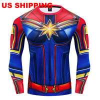 Superhero Captain Marvel Compression T-shirt Costume Cosplay Tights Gym Tee Top