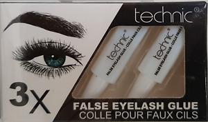 Technic 3 x False Eyelash Glue Adhesive Fake Eye Lashes Clear Strong Tubes