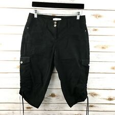White House Black Market Womens Cropped Pants 2 Black Ruched Tie Sides Capri