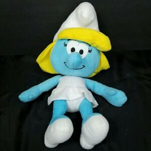"Smurfette The Smurfs Blue White Yellow Hair Girl Plush Stuffed Animal 13"" Nanco"