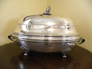 Beautiful LARGE Antique French Christofle Silverplate Dome Footed Dish, ca 1868