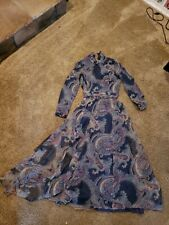 Vintage Dress by Posh by Jay Anderson paisley navy blue maroon Victorian 8 10 12