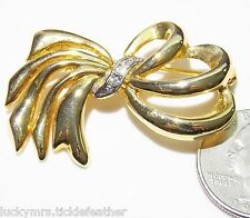 Signed Ribbon Loop Bow Pin/Brooch Goldtone w/Rhinestone Center, 1 7/8""