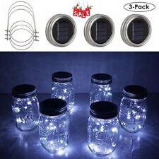 3-Pack Mason Jar Lights 20 LED Solar Fairy String Lamp Lids Insert Decor White