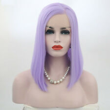 """12"""" Women Synthetic Lace Front Wig Short Bob Straight Light Purple Full Wigs"""
