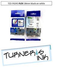 1 pk 18mm Black/White TZ TZe-Fx241 Flexible Label Tape for Brother PT-H100
