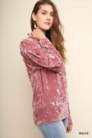 UMGEE Mauve Pink Crushed Velvet Long Sleeve Tunic Top