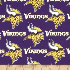 MINNESOTA VIKINGS  Fabric NFL Cotton New Purple White  BTFQ Need Lampshade ?