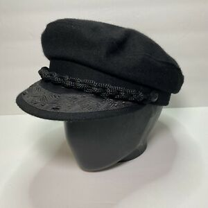 Authentic GREEK FISHERMANS Cap Hat Made In Greece Sz. 57 - 7 1/8 Black