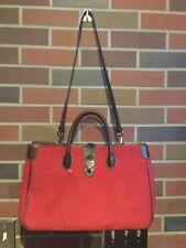 Vintage Dooney Bourke Large Red Canvas Signature DB Purse Satchel  Luggage Bag