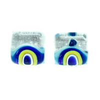 Murano Glass Earrings Silver Blue Yellow Millefiori Handmade Venice Stud Square