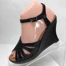 Robert Clergerie Womens Heels 7 Black Leather Wedge Sandal Shoes Open Toe 4 1/4""